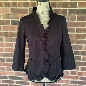Talbots black ruffled blazer jacket